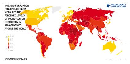 2010全球清廉度排行榜(全图):Corruption Perceptions Index 2010 - 喜欢吃桃子 - wangyufeng的博客