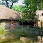 Image of villagers' earthen huts
