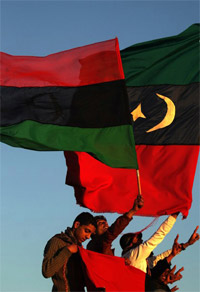 Libyans waving flag
