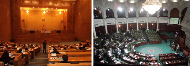 Left: The model constituent assembly, one of I Watch's initiatives. Right:  Tunisia's actual Constituent Assembly.