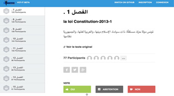 A screenshot from the website which enables Tunisians to vote on articles in their new constitution.
