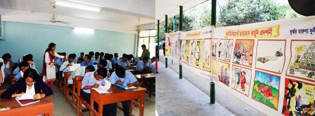 School children at quiz time
