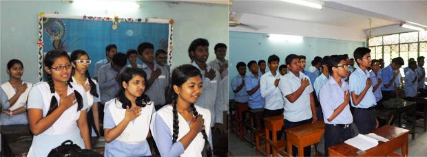 School pupils taking the oath.