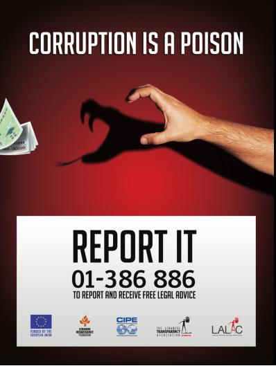 LALAC Campaign poster encouraging people to report on corruption