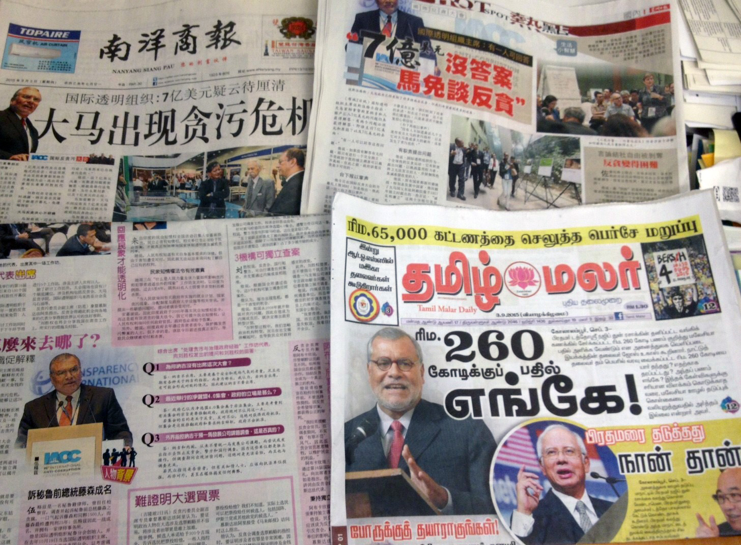 Transparency International chair José Ugaz made the front page of many papers in Malaysia after he spoke critically of a scandal surrounding the prime minister in his speech at the 16th IACC meeting in Kuala Lumpur.